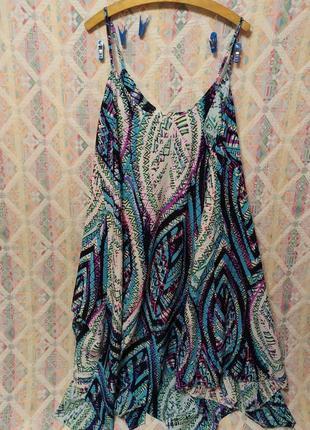 Шикарный летний легкий сарафан большой размер 18 20 платье пляжное