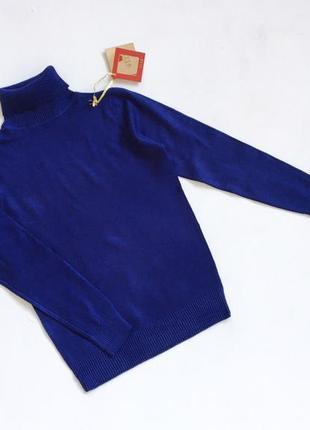 Новый стильный гольф натуральная ткань насыщенный синий цвет s-m