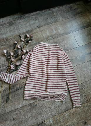 Теплейший свитер в полоску из альпаки/кофта/шерсть зимний/гольфиком