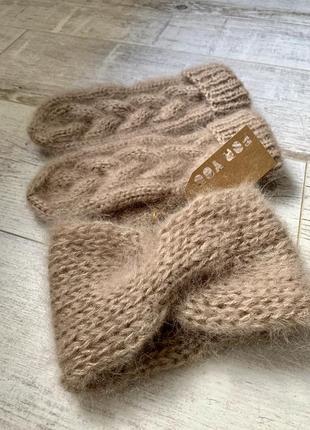 Тепленький комплект из мохера:варежки и повязка на голову 🌫