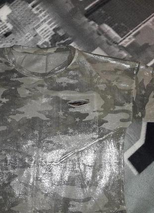 Блуза милитари с напылением серебро