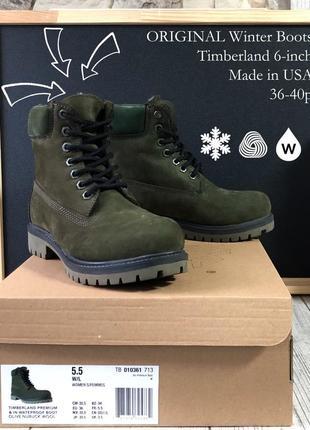 Оригинальные зимние ботинки. timberland 6-inch. полностью зелёные меховые. 28 цветов