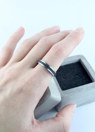 Кольцо, кольцо из бетона, титан, минимализм