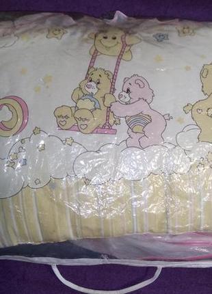 """Бортики в кроватку """"защита"""" в мишки + 2комплекта постельного белья"""