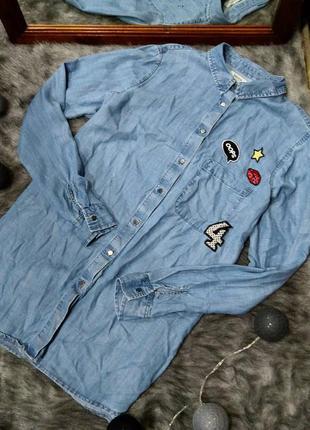 Джинсовая рубашка блуза кофточка с нашивками papaya