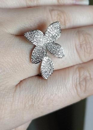 Кольцо серебристое колечко цветочек