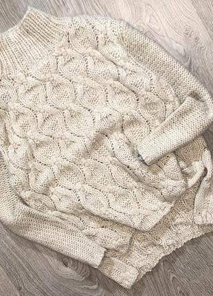 Теплый свитер с красивой вязкой h&m
