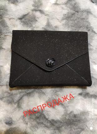 Шикарный черный с блеском клатч распродажа