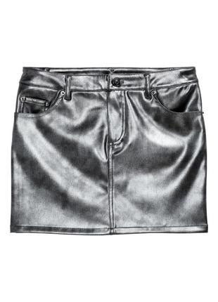 Модная кожаная юбка h&m