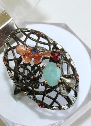 Кольцо с изумрудом, серебро 925, р.18,5
