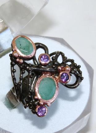 Кольцо с изумрудом, серебро 925, р.17,9