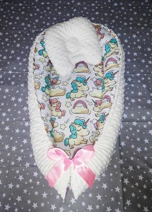 Кокон гнёздышко для малышей от 0 до 6 месяцев с ортопедической подушкой 🎊