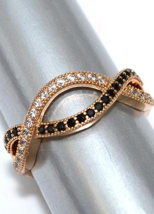 Кольцо фирмы xuping. цвет: позолота .камни: белый и чёрный циркон.