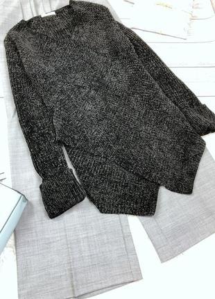 Стильный чёрный плюшевй свитер на запах tu