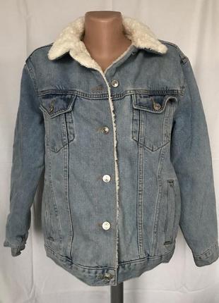 Куртка голубая джинсовая с мехом