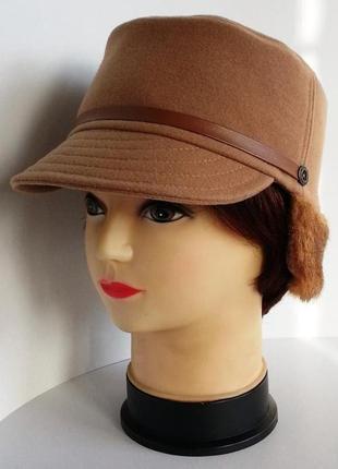 Зимняя кепка кепи кадетская кепка. кашемир - капучино.