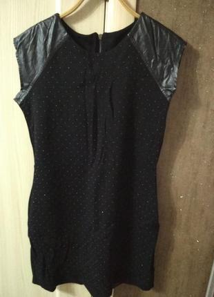 Платье с вставки кожзама облегающее