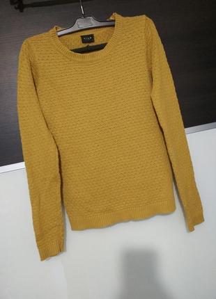 Горчичный джемпер,свитер тонкая вязка vila