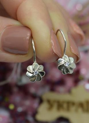 Серебряные #серьги #сережки #кульчики #крючки #цветочек #квіточка #925