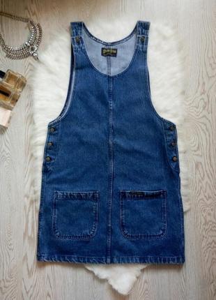 Синий джинсовый сарафан платье юбка на бретелях с карманами плотная с кнопками