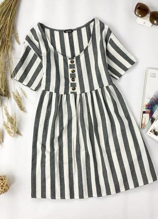 Коттоновое платье-туника в широкую полоску  dr1950012  boohoo
