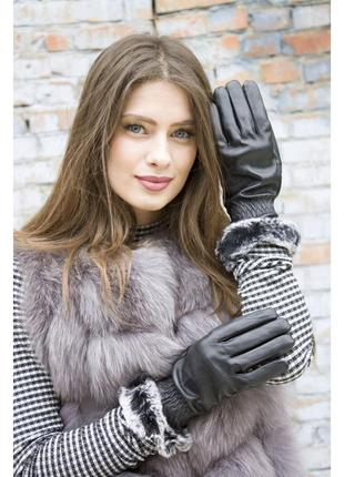Женские кожаные перчатки на меху с опушкой, очень теплые!