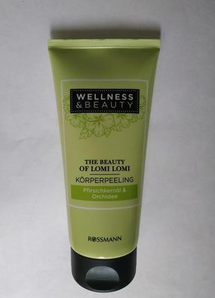 Пилинг для лица и тела wellness & beauty с персиком и орхидеей, 200 мл.