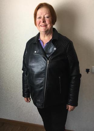 Кожаная куртка косуха, большой размер c&a