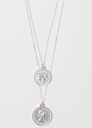 Две цепочки колье подвеска монеты монетки кулон медальон украшение h&m