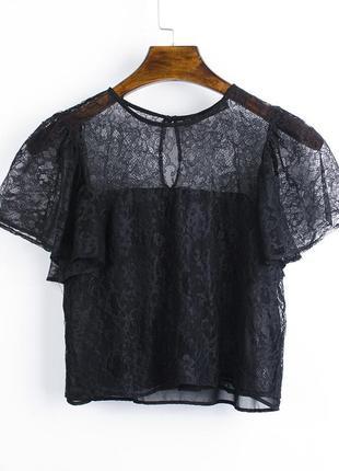Кружевная блузка черная