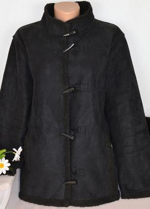 Брендовая черная дубленка с карманами дафлкот casualclub акрил