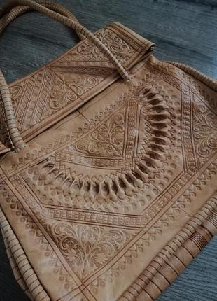 Шкіряна оригінальна сумка ручна робота узор тиснення, перфорація , кожаная сумка в узор