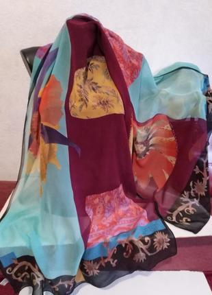 Люкс-бренд, дизайнерский подписной палантин, большой шарф, christian lacroix, 170*67