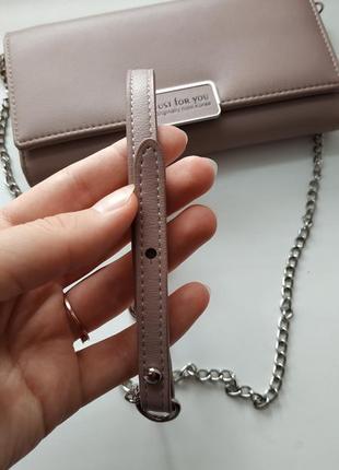 Клатч сумка кошелек на цепочке пудра