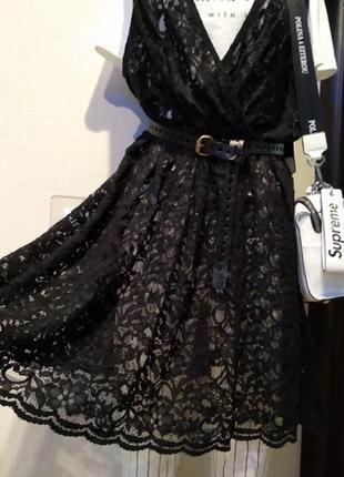 Брэндовое платье миди гипюр кружево сетка тонкое черное