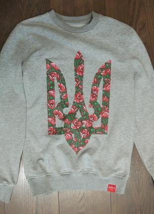 Толстовка серая пуловер с гербом