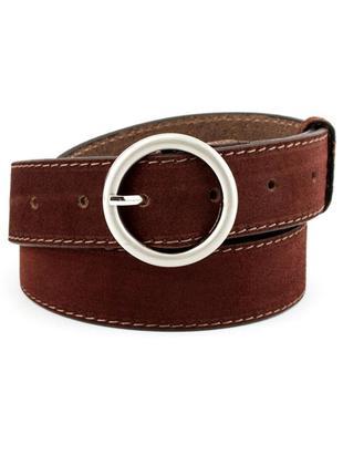 Женский замшевый ремень джинсовый jk-3570 brown (3,5 см)