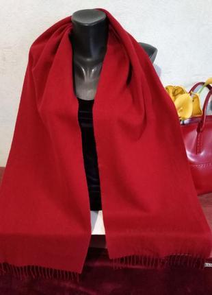 Люкс-бренд, шерсть +ангора +кашемир, бордовый шарф, унисекс, hugo boss, 176*31