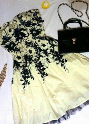 Платье миди в принт с фатином с подъюпником желтое платье