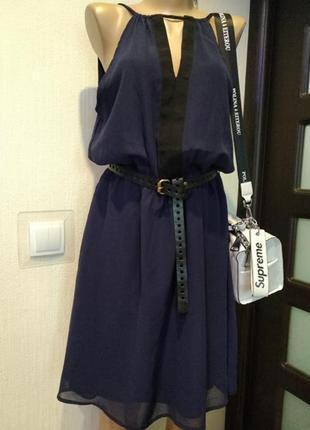 Брэндовое мини платье коктейльное вечернее короткое синее тончайшее