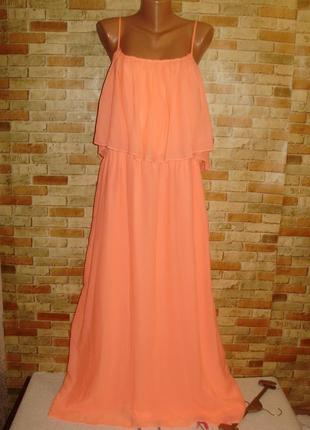 Шифоновое макси платье на подкладке неоновой расцветки 20/54-56 размера