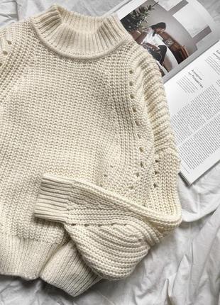 Нереальный молочный вязаный шерстяной свитер, белый тёплый джемпер
