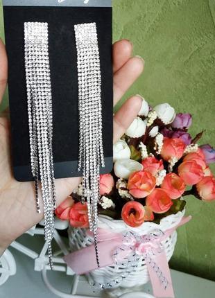 Серьги длинные серебро вечерние сережки серёжки