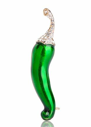 Брошь унисекс бижутерия с эмалью растения острый перец br111024 зелёная
