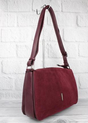 Мягкая, вместительная сумка gilda tohetti 60488-1 бордовая с замшевой вставкой