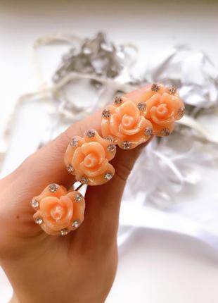 Шпильки для волос оранжевые розы 4 шт