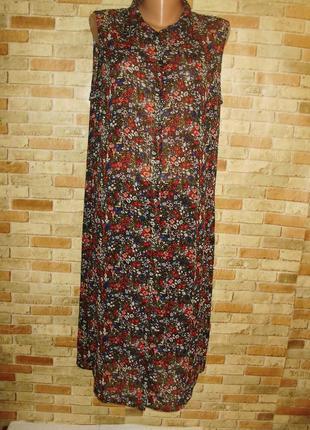 Шифоновая удлиненная блуза цветочный принт 18/52-54 размера