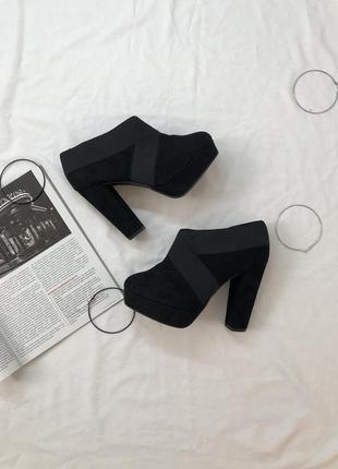Замшевые туфли-ботинки| полуботинки на каблуку
