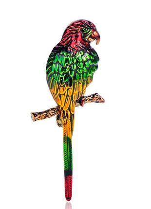 Брошь-кулон женская бижутерия с эмалью птицы попугай br111022 разноцветная