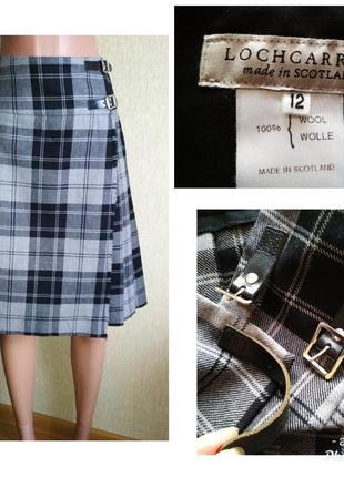 Lochcarron,юбка шотландка в складки,на запах,килт,шерсть,р.38-40